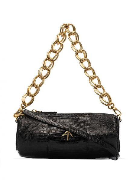 С ремешком черная сумка на цепочке из натуральной кожи Manu Atelier