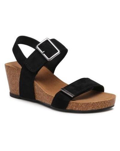 Czarne sandały na rzepy Ccc