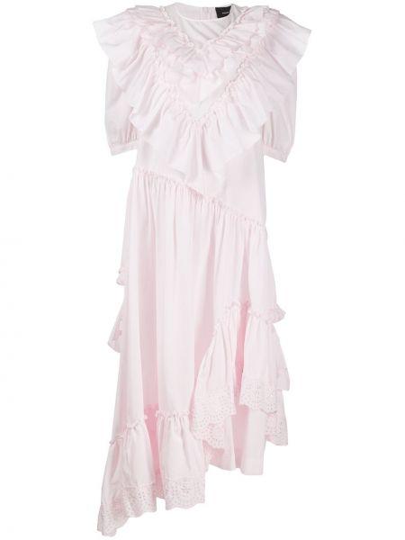 Платье макси розовое с оборками Simone Rocha