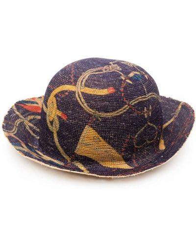 Prążkowany fioletowy kapelusz bawełniany Etro