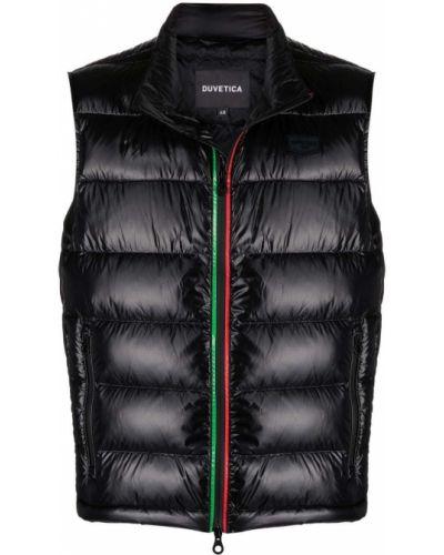 Czarna długa kurtka pikowana z długimi rękawami Duvetica