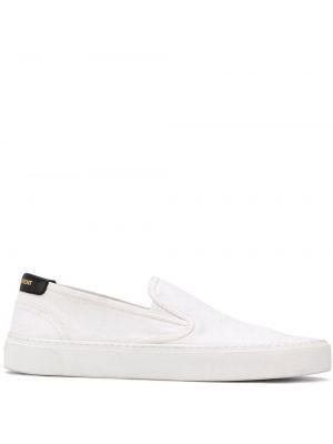 Белые кожаные слипоны без застежки Saint Laurent