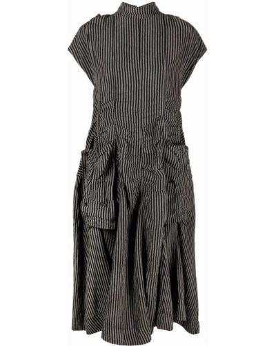 Платье миди в полоску - черное Rundholz