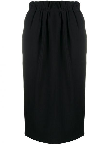 Прямая с завышенной талией юбка миди с разрезом с поясом N°21