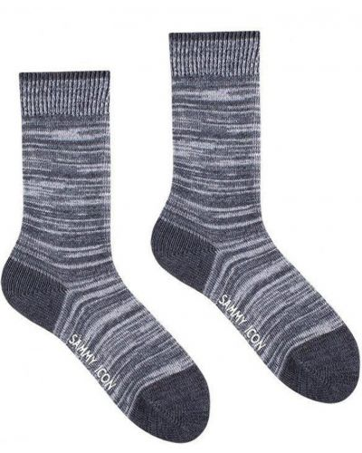 Серые хлопковые носки высокие с рисунком Sammy Icon