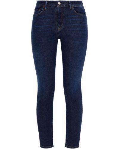 Niebieskie jeansy rurki bawełniane z paskiem Acne Studios