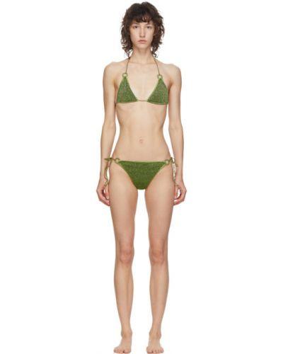 Зеленые бикини с люрексом с подкладкой с воротом халтер Oseree