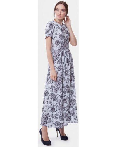 Платье макси серое весеннее Vladi Collection