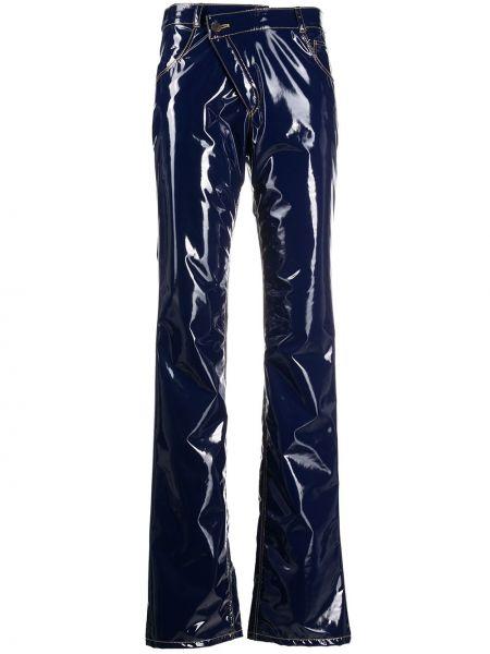 Лаковые синие брюки с запахом на пуговицах Ottolinger