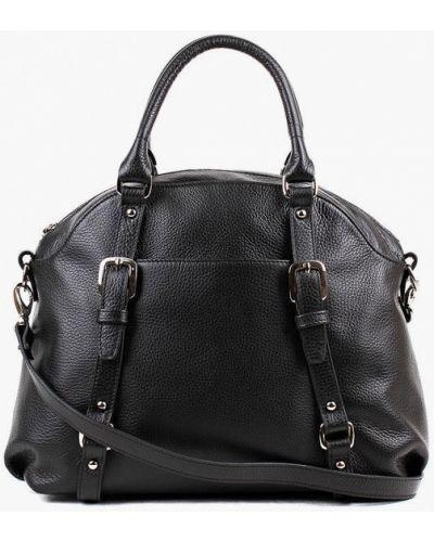 Черная сумка с ручками из натуральной кожи медведково