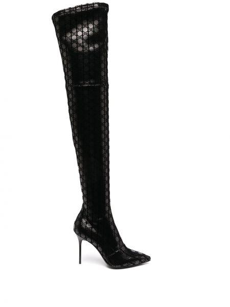 Кожаные черные сапоги на шпильке на каблуке с острым носом Balmain