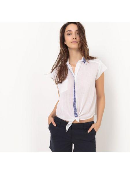 Рубашка с коротким рукавом хлопковая с завязками La Redoute Collections
