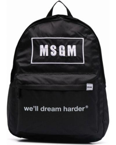 Czarny plecak z printem Msgm Kids