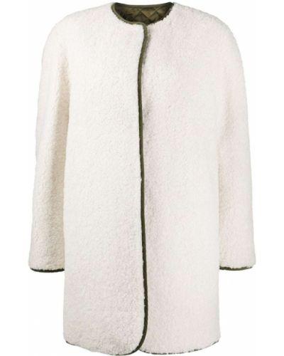Стеганое белое длинное пальто с вырезом Philosophy Di Lorenzo Serafini