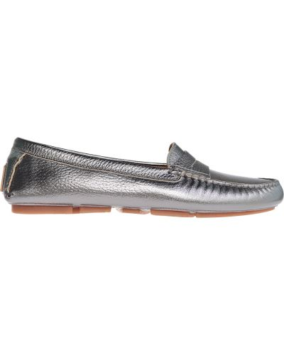 Мокасины кожаные серебряный Gianros