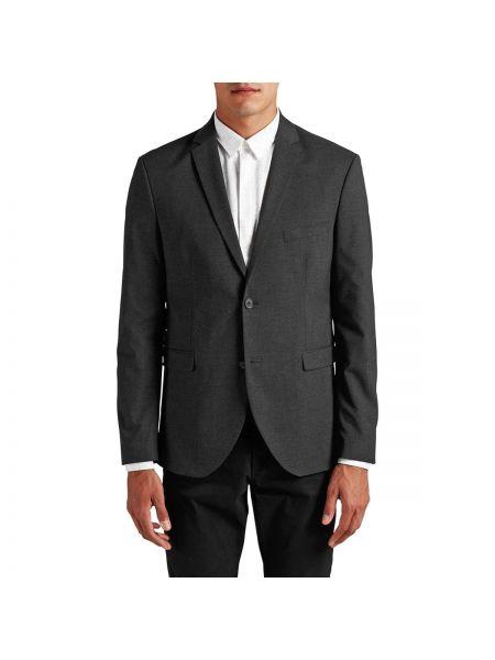 Темно-серый пиджак на пуговицах из вискозы узкого кроя Jack & Jones Premium