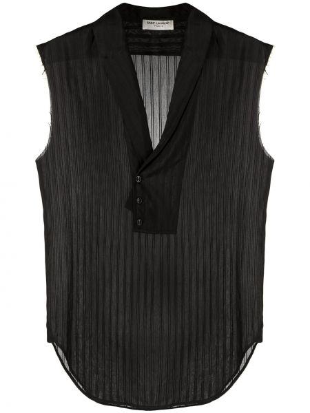 Bawełna czarny koszula bez rękawów Saint Laurent