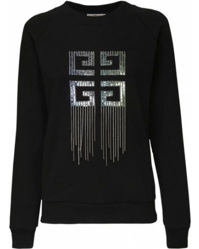 Czarny bawełna bluza z haftem z kołnierzem Givenchy