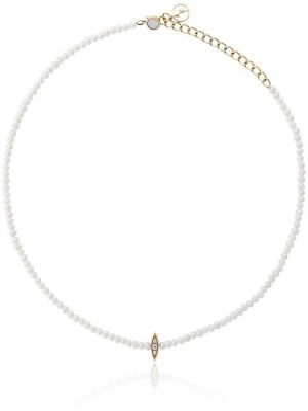 Белое ожерелье с жемчугом с бриллиантом Anissa Kermiche