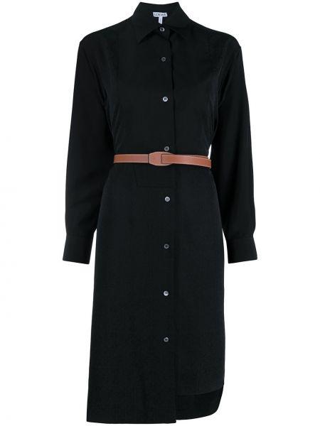 Шелковое с рукавами черное платье макси Loewe