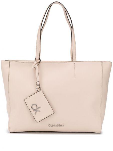 Серебряная сумка-тоут с карманами Calvin Klein