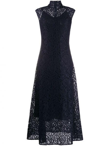 Синее ажурное платье миди с воротником без рукавов Boss Hugo Boss
