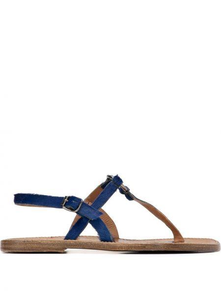 Синие лоферы на каблуке с пряжкой Silvano Sassetti
