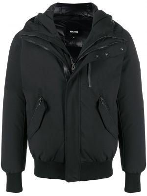 С рукавами черная кожаная длинная куртка Mackage