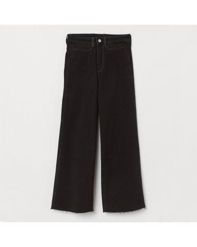 Прямые черные широкие джинсы с высокой посадкой H&m