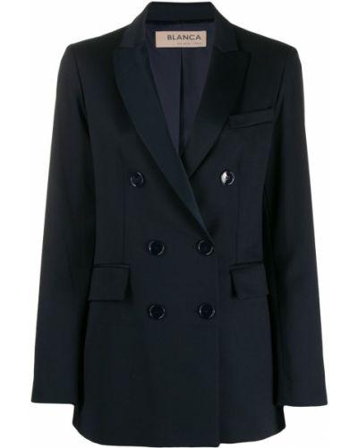 Синий удлиненный пиджак с карманами на пуговицах Blanca