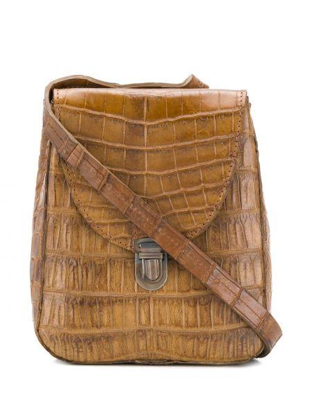 Коричневая сумка через плечо с перьями с тиснением из крокодила Cherevichkiotvichki
