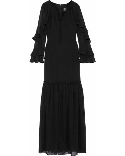 Шифоновое черное платье макси с подкладкой Mikael Aghal