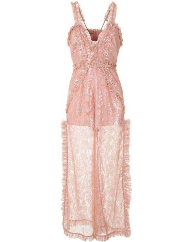 Розовый нейлоновый комбинезон с вышивкой с V-образным вырезом Alice Mccall