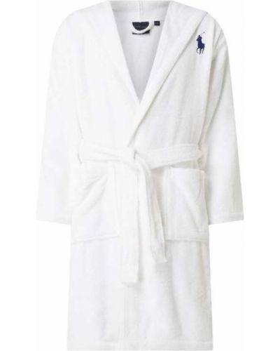 Biały szlafrok bawełniany z kapturem Ralph Lauren