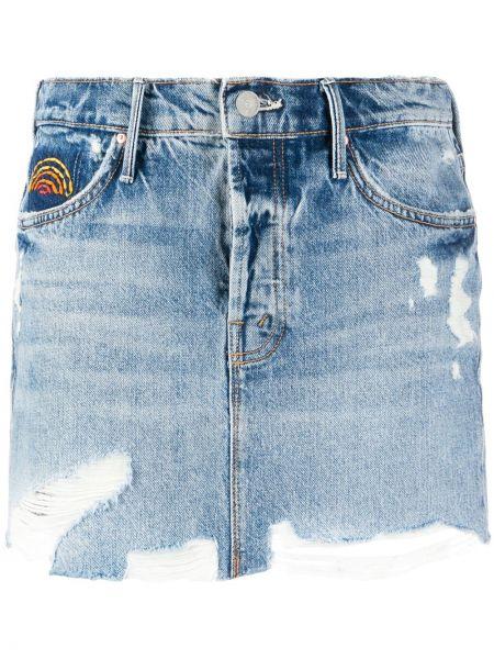 Джинсовая юбка с бахромой с карманами Mother