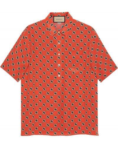 Pomarańczowa klasyczna koszula krótki rękaw Gucci