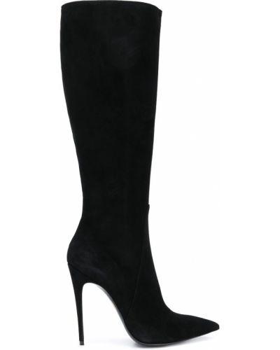Черные сапоги без каблука с острым носом Maison Ernest