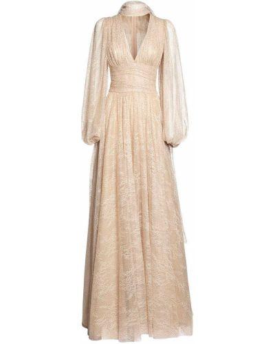 Бежевое кружевное платье макси с воротником Luisa Beccaria