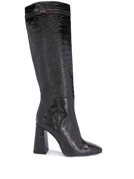 Черные сапоги на шпильке на каблуке из натуральной кожи Karl Lagerfeld
