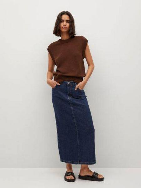 Niebieska spódnica jeansowa bawełniana Mango