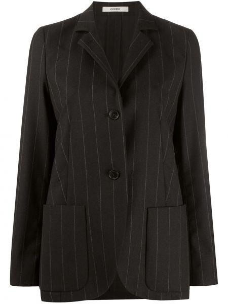 Однобортный черный классический пиджак в полоску Odeeh