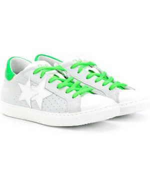 Зеленые кеды с заплатками на шнурках 2 Star Kids
