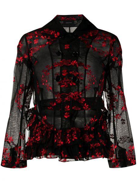 Классическая черная куртка с вышивкой с воротником Simone Rocha