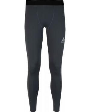 Компрессионные серые спортивные спортивные брюки из плотной ткани Odlo