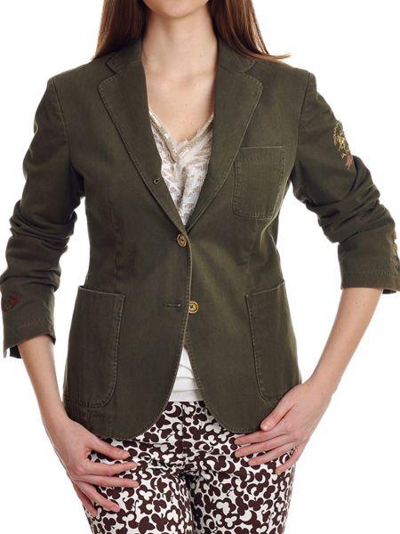 Хлопковый зеленый пиджак с подкладкой La Martina