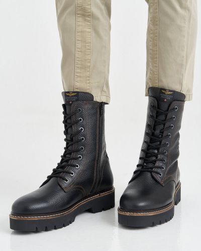 Кожаные ботинки - черные Aeronautica Militare