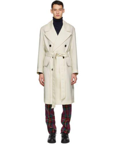 Wełniany długi płaszcz z kołnierzem z kieszeniami z mankietami Ami Alexandre Mattiussi