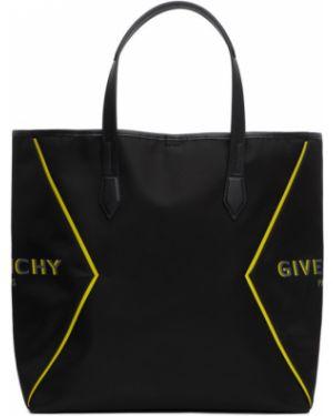 Czarny skórzany torba na zakupy z łatami wytłoczony Givenchy