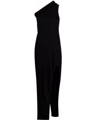Хлопковое приталенное черное платье макси Rick Owens Lilies