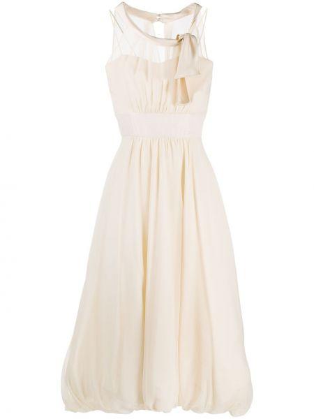 Beżowa sukienka midi z jedwabiu Antonio Marras